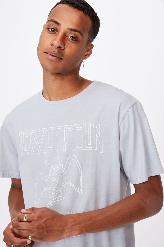 Longline Scoop Lounge T-Shirt, LCN ARA GREY/LED ZEPPLIN - LUNAR ROCK