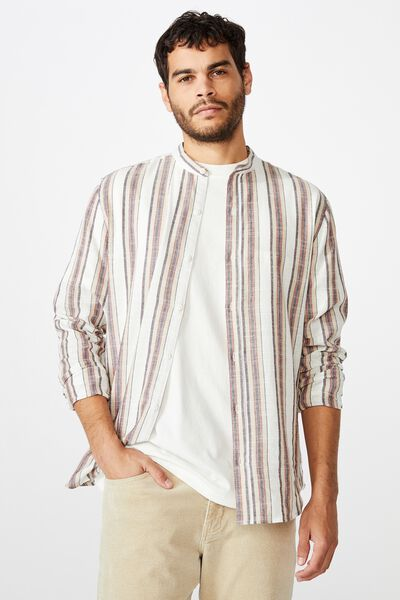 Banded Collar Shirt, WHITE SPACED STRIPE