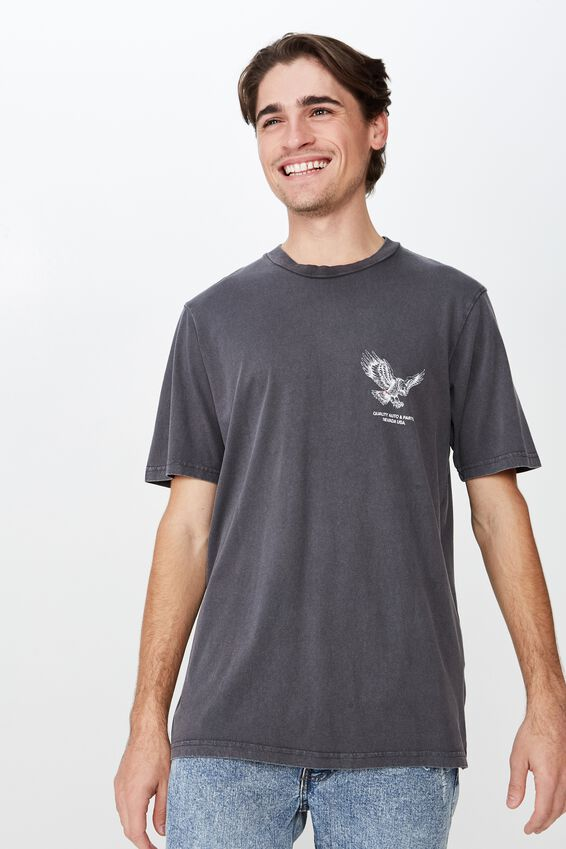 Tbar Moto T-Shirt, FADED SLATE/WHITE HAWK