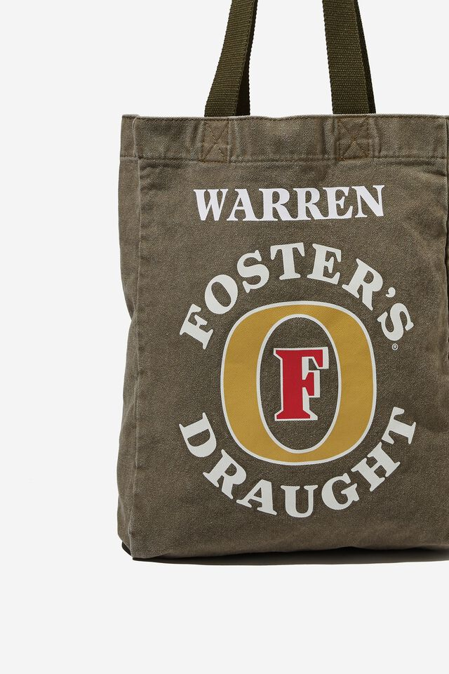 Fosters Shoulder Tote Personalised, LCN FOS JUNGLE KHAKI/FOSTERS LOGO