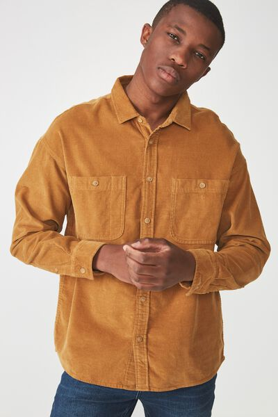 Long Sleeve Workwear Shirt, MUSTARD CORD