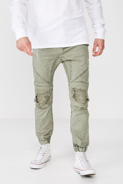 Slim Denim Jogger, KHAKI RIPPED MOTO