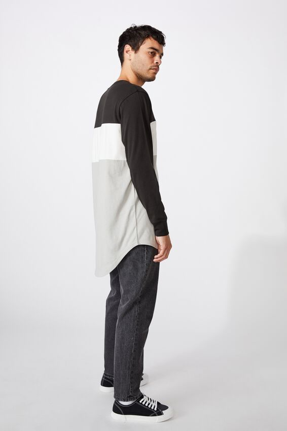 Long Sleeve Curved Hem, WASHED BLACK/VINTAGE WHITE/OVERCAST GREY/NEW STATE