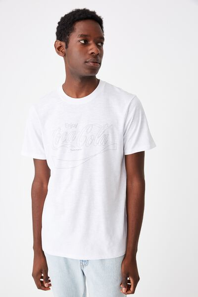 Tbar Collab Pop Culture T-Shirt, LCN CC WHITE SLUB/COKE - OUTLINE WAVE LOGO