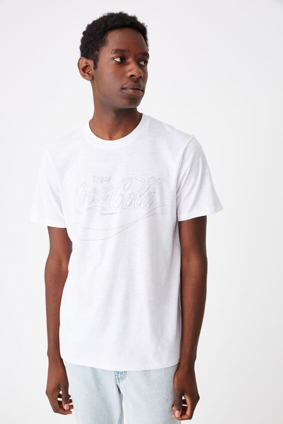 Tbar Collab Pop Culture T-Shirt, LCN CC WHITE SLUB/COKE - OUTLINE WAVE LOGO