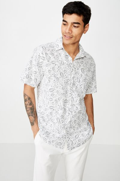 Vacation Short Sleeve Shirt, WHITE VINTAGE PAISLY