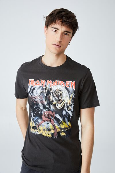 Tbar Collab Music T-Shirt, LCN IM WASHED BLACK/IRON MAIDEN - NUMBER OF T