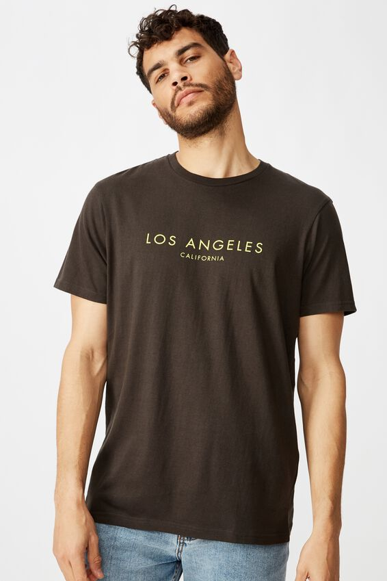 Tbar Text T-Shirt, WASHED BLACK/LOS ANGELES SIMPLE