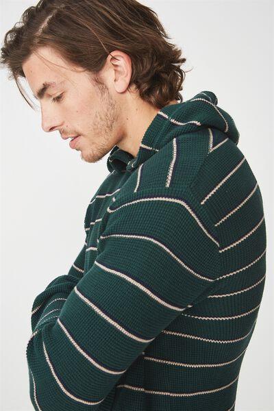 Hooded Waffle Knit, GREEN NAVY STRIPE