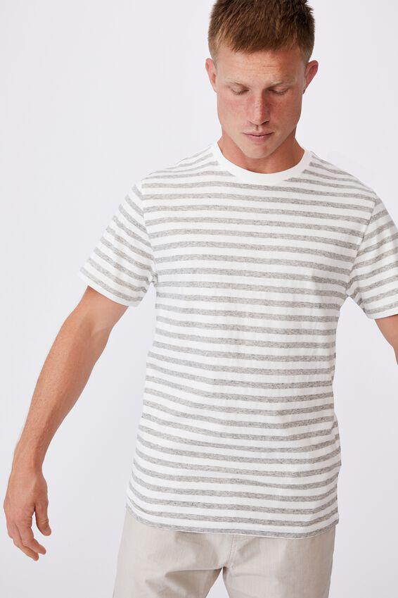 Graduate T-Shirt, NEPPY GREY MARLE/VINTAGE WHITE 50/50 STRIPE