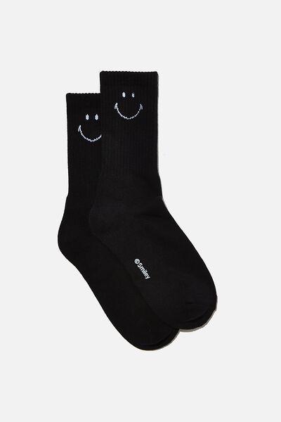 Special Edition Active Sock, LCN SMI SIMPLE SMILEY/BLACK