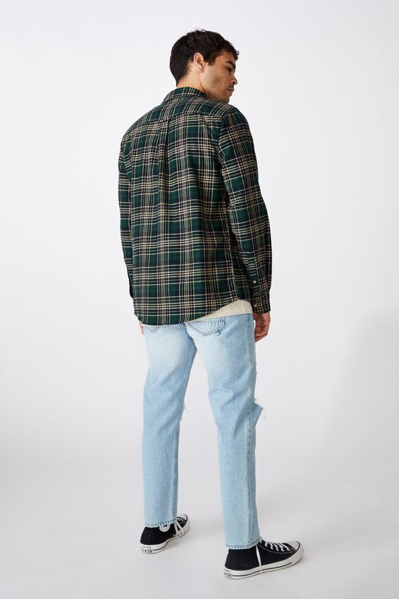 Rugged Long Sleeve Shirt, KHAKI BLACK CHECK