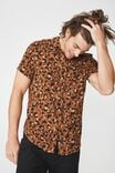 91 Short Sleeve Shirt, LEOPARD BRUSH PRINT