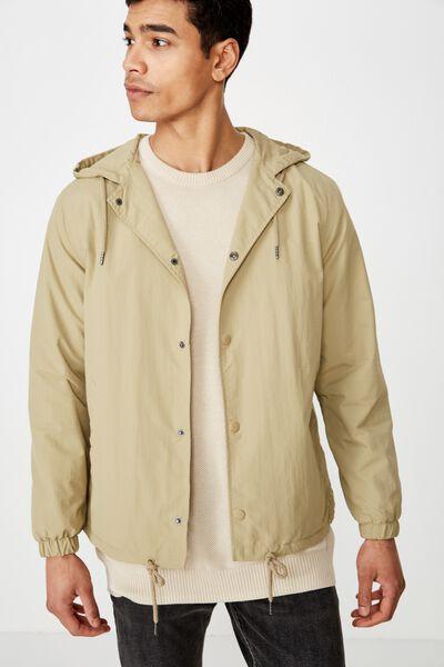 Hooded Coaches Jacket, STONE