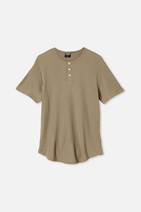 Longline Scoop Henley Waffle T-Shirt, MOSS STONE