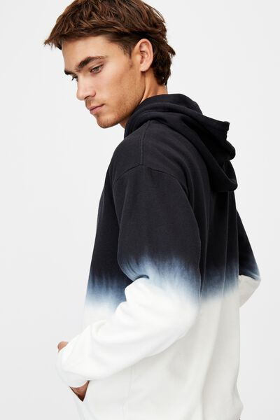 Drop Shoulder Pullover Fleece, WASHED BLACK/BONE DIP DYE