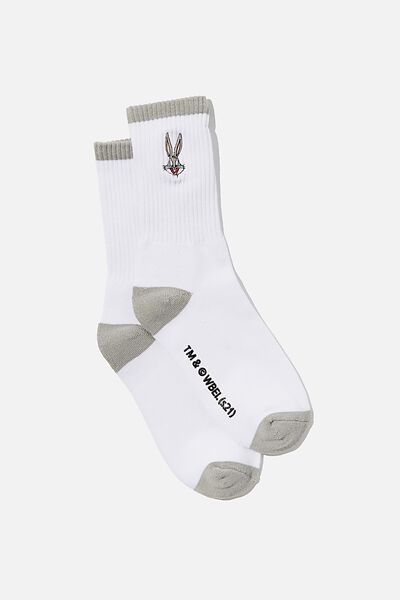 Special Edition Active Sock, LCN WB WHITE/GREY/BUGS BUNNY