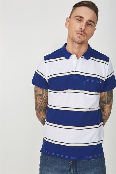 Icon Polo, BLUE WHITE YELLOW STRIPE