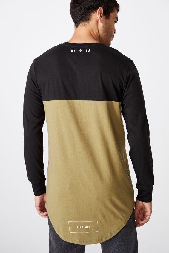 Long Sleeve Curved Hem, BLACK/BLAIR KHAKI/NEW STATES