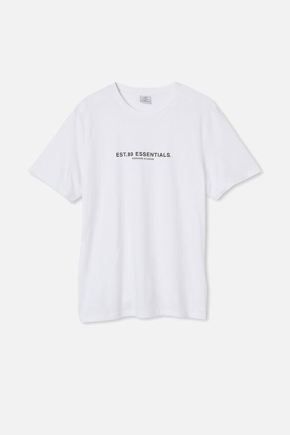 Tbar Text T-Shirt, WHITE/ESSENTIALS 89