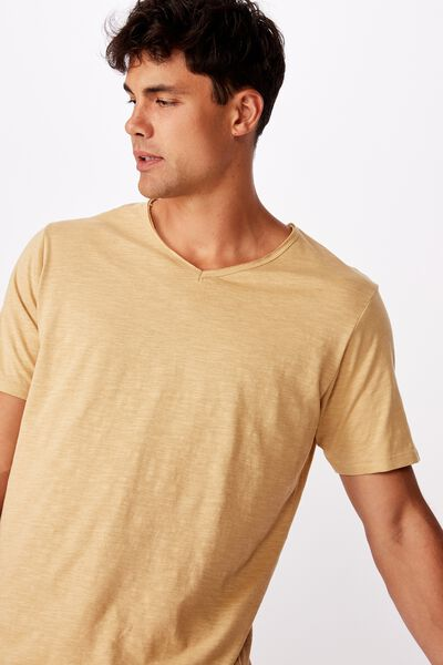Slub V Neck Tee, LIGHT CAMEL