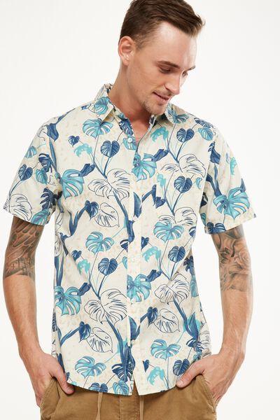 Vintage Prep Short Sleeve Shirt, ANIMAL FLORAL PRINT