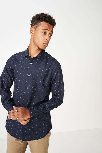 Slim Smart Shirt, NAVY GEO