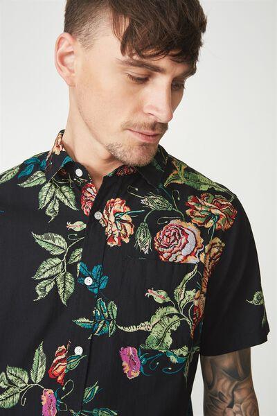 Short Sleeve Resort Shirt, BLACK TEXTURED FLORAL