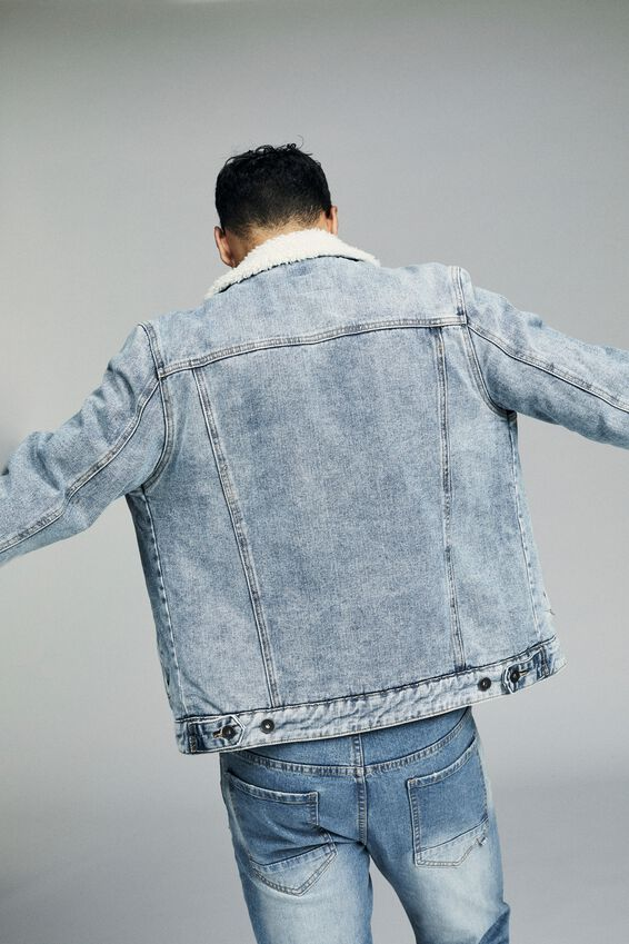Borg Denim Jacket, DISTRESSED BLUE