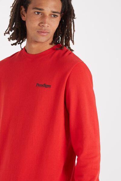Crew Fleece 2, SPORT RED/PARADIGM