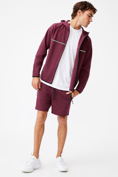Active Tech Fleece Short, BURGUNDY