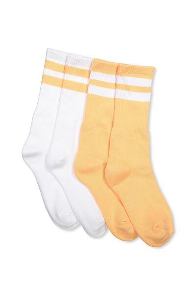 2 Pack Crew Socks, PEACH/WHITE SPORT STRIPE