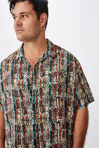 Bg 91 Short Sleeve Shirt, BLOCK STRIPE TRIBAL