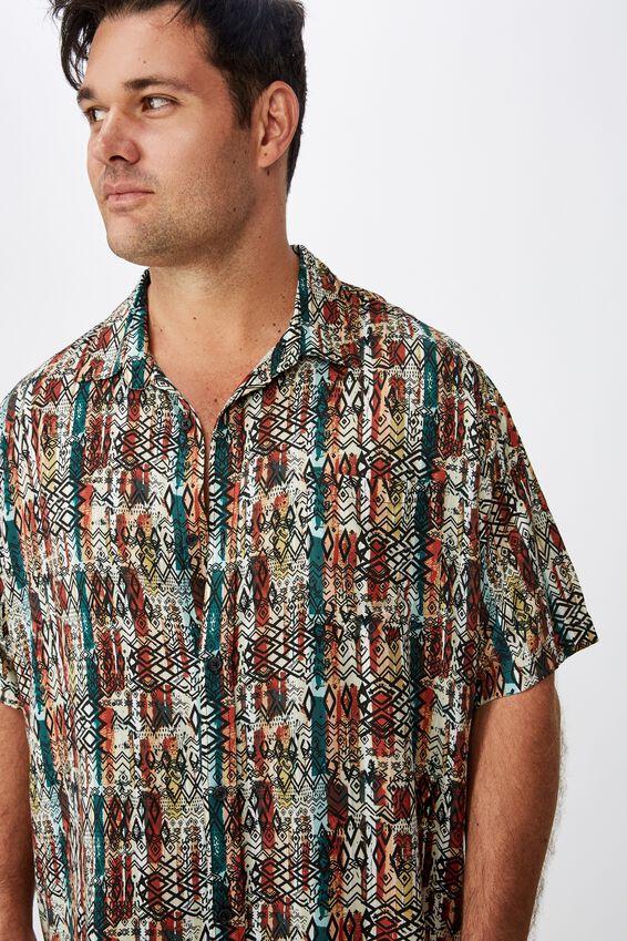 91 Short Sleeve Shirt, BLOCK STRIPE TRIBAL