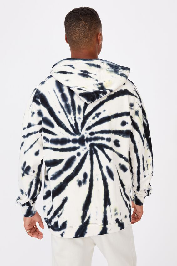 Drop Shoulder Pullover Fleece, BLACK/YELLOW SWIRL TIE DYE