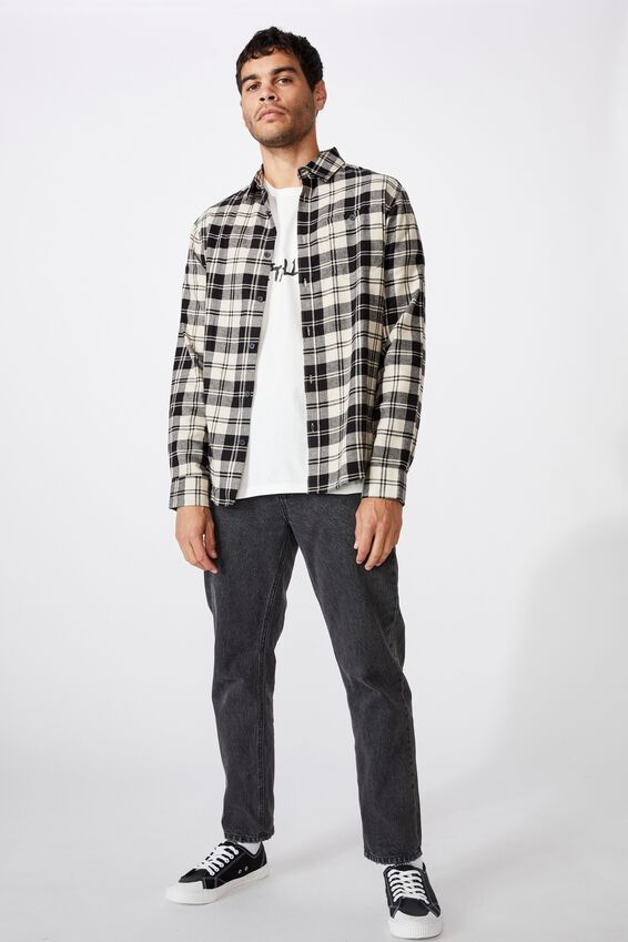 Rugged Long Sleeve Shirt, BLACK WHITE CHECK