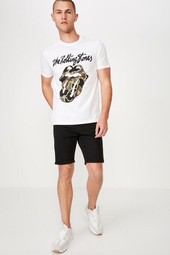 Tbar Collab Music T-Shirt, LCN BRA WHITE/THE ROLLING STONES - CAMO TONGUE