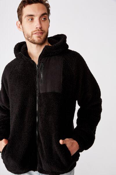 Hooded Teddy Zip Thru, BLACK