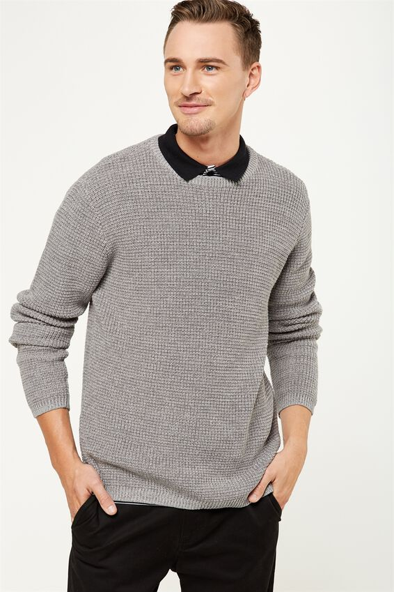 Split Hem Knit, GREY TWIST