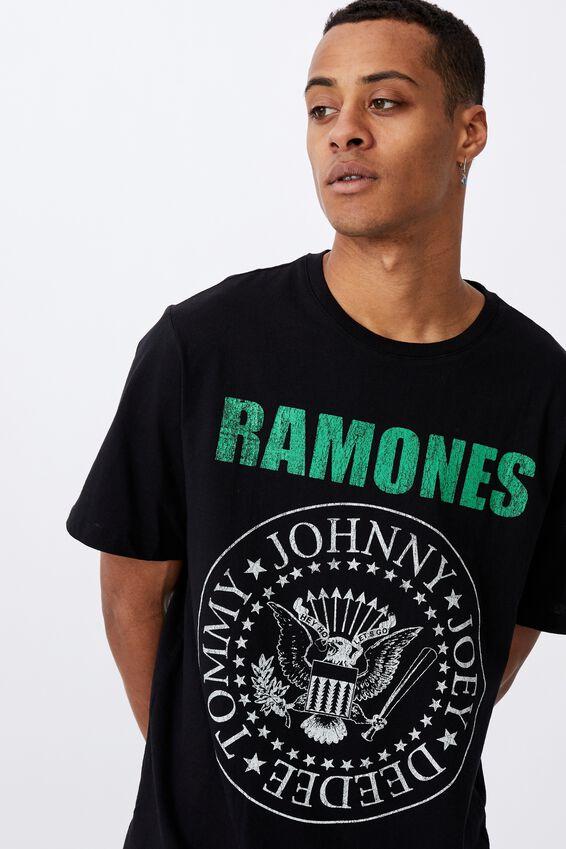 Tbar Collab Music T-Shirt, LCN MT BLACK/RAMONES-WINTER 1978