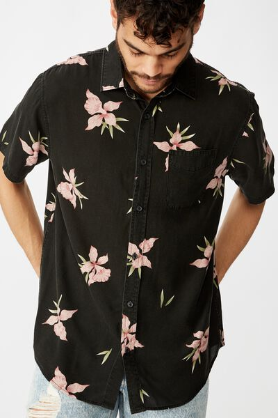 Short Sleeve Resort Shirt, HAWAIIAN BLACK