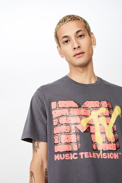 Tbar Collab Pop Culture T-Shirt, LCN MTV FADED SLATE/BRICK LOGO