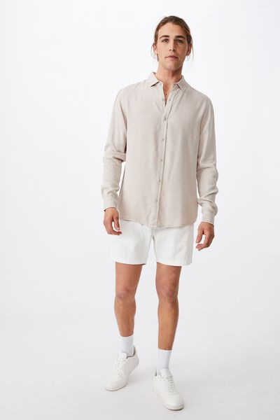 Cayman Long Sleeve Shirt, STONE