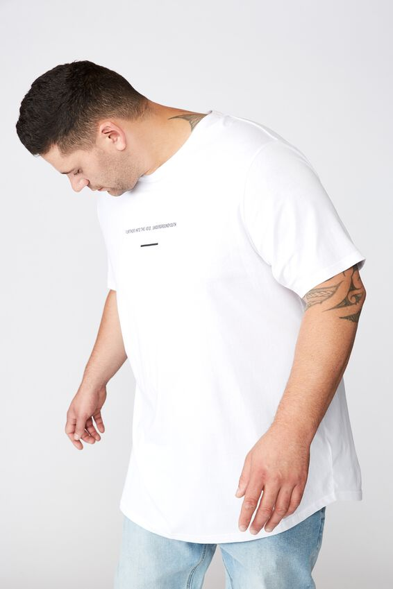 Bg Longline Scoop Hem Tee, WHITE FURTHER INTO THE VOID