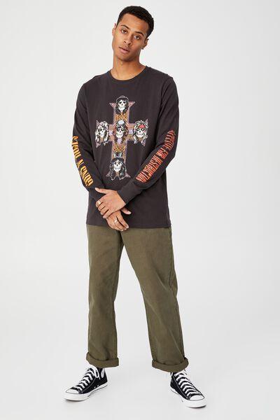 Tbar Collab Long Sleeve T-Shirt, LCN BRA WASHED BLACK/GUNS N ROSES CROSS