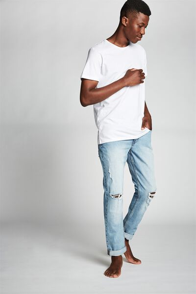 Tapered Leg Jean, VINTAGE BLUE + RIPS