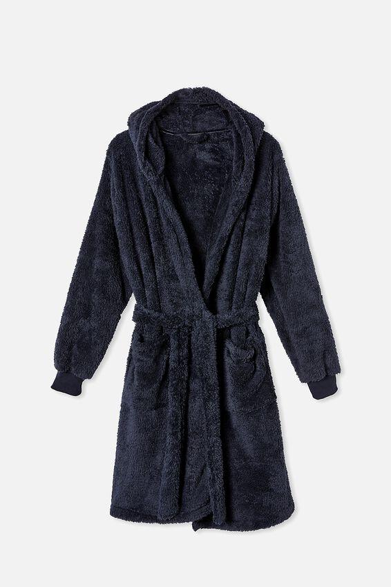 Mens Plush Gown, TRUE NAVY