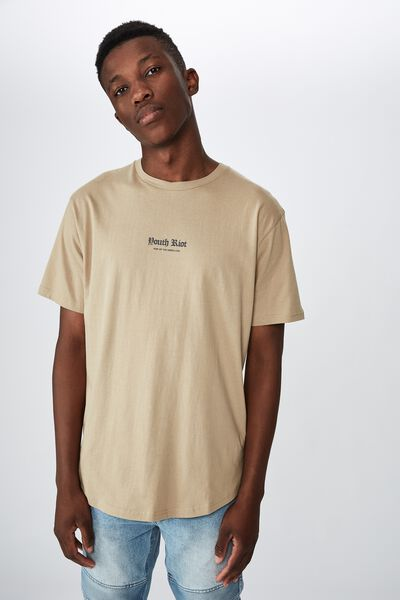 Longline Scoop Hem Tee, GRAVEL STONE YOUTH RIOT