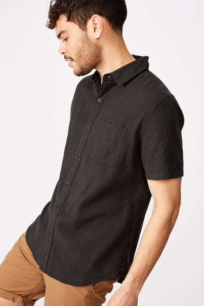 Premium Linen Cotton Short Sleeve Shirt, SLATE