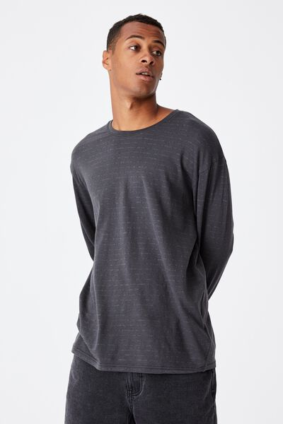 Brunswick Stripe Long Sleeve T-Shirt, WASHED BLACK/CHARCOAL MARLE SPACED STRIPE